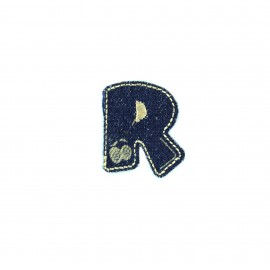 Numbers and Letters Denim Iron-on patch / Sticker - R