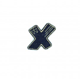 Numbers and Letters Denim Iron-on patch / Sticker - X