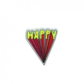 Cool kid iron-on patch - happy