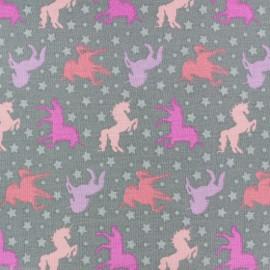 Cotton  Girly unicorns fabric - pink x 10cm