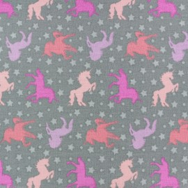 Tissu coton Girly unicorns - rose x 10cm