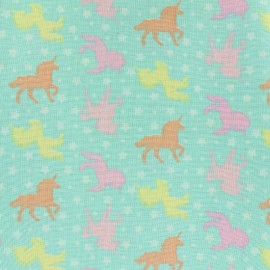 Cotton  Girly unicorns fabric - pastel x 10cm