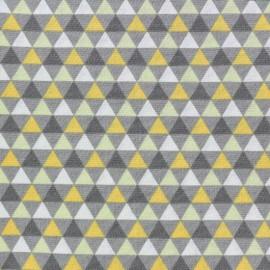 Tissu coton popeline Triangles scandinaves - girs/jaune x 10cm