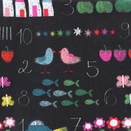 Tissu coton Chalkboard - noir x 21cm
