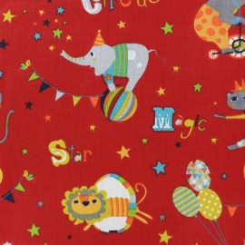 Tissu coton Circus - rouge x 22cm