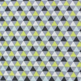 Tissu coton popeline Triangles scandinaves - bleu/vert x 10cm