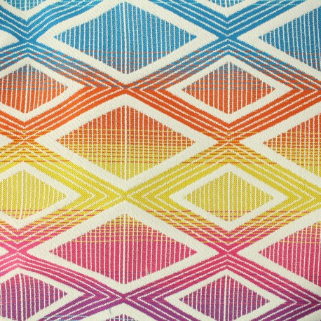 Tissu jacquard tissé Yoga - Multicolore x 27cm