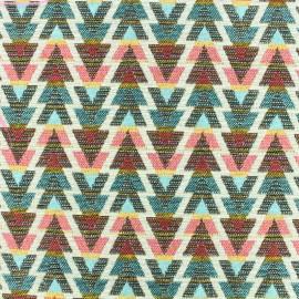 Tissu jacquard tissé teint Cuzco Mexica - rose/bleu x 10cm