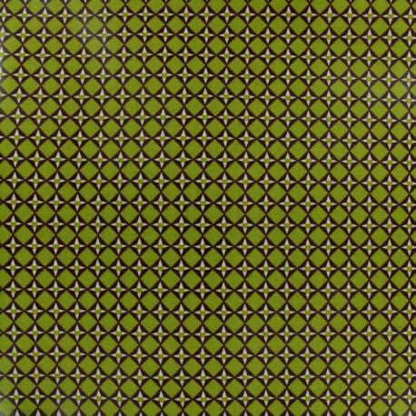 Tissu coton enduit brillant Cubiste - vert x 10 cm