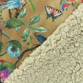 Fourrure mouton réversible aspect suédine Jardin des oiseaux - beige x 10cm
