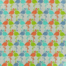 ♥ Coupon tissu 210 cm X 130 cm ♥ Tissu coton enduit brillant Flamants - multicolore