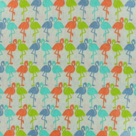 Coated Cotton Fabric  Flamingos - multicolor