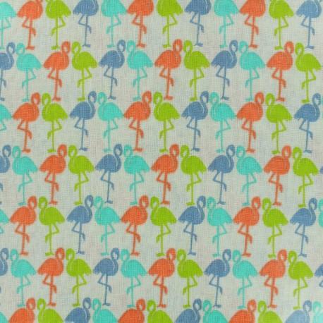 Tissu coton enduit brillant Flamants - multicolore