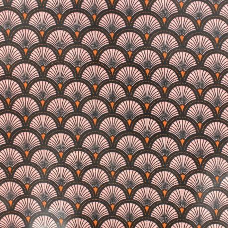 Tissu coton enduit brillant Doucet - rose x 10 cm