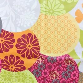 Tissu coton enduit mat Flower world - multicolore x 32 cm