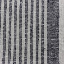 Linen Stripes cloth fabric - black/taupe x 10cm