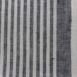 Tissu torchon lin Rayures - noir/taupe x 10cm