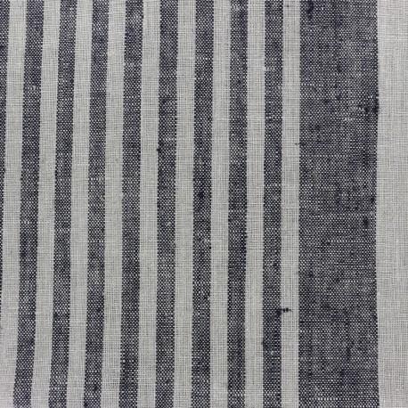 Tissu torchon lin Rayures - noir/taupe