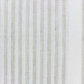 Linen Stripes cloth fabric - white/beige x 10cm