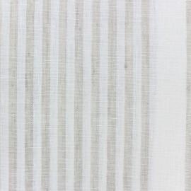 Tissu torchon lin Rayures - blanc/beige x 10cm