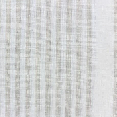 Linen Stripes cloth fabric - white/beige x 10cm