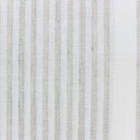 Tissu torchon lin Rayures - blanc/beige