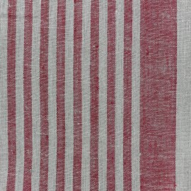 Tissu torchon lin Rayures - rouge/taupe x 10cm