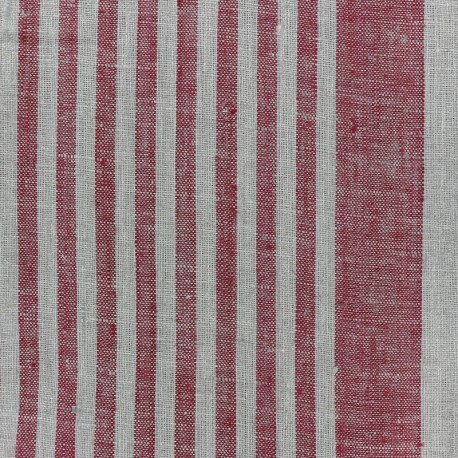 Linen Stripes cloth fabric - red/taupe x 10cm