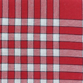 Oeko-Tex Cotton towel fabric Normans Tiles - red / white x 10cm