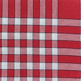 Oeko-Tex Cotton towel fabric Normans Tiles - red / white x 10cm