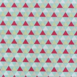 Tissu coton popeline Triangles scandinaves - bleu/rose x 10cm