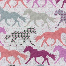Tissu coton Colorful unicorns - rose/blanc x 32cm