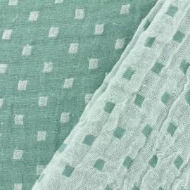 Tissu double gaze de coton réversible Squares - vert x 10cm