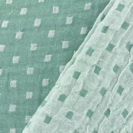Tissu double gaze de coton Squares - vert x 10cm