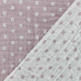 Double gauze fabric Squares double sided - rose x 10cm