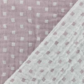Tissu double gaze de coton réversible Squares - rose x 10cm
