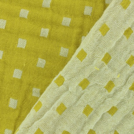 Double gauze fabric Squares double sided - yellow x 10cm