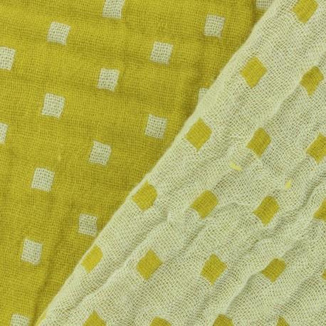 Tissu double gaze de coton réversible Squares - jaune x 10cm