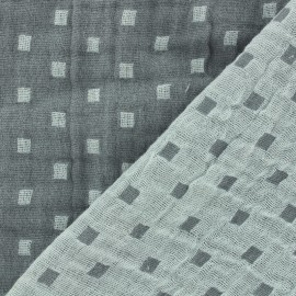 Double gauze fabric Squares double sided - grey x 10cm