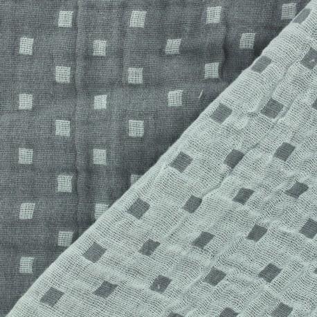 Tissu double gaze de coton réversible Squares - gris x 10cm