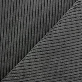 Tissu velours à grosses côtes Lisboa - gris anthracite x10cm