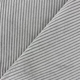 Tissu velours à grosses côtes Lisboa - gris x10cm