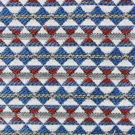 Tissu jacquard tissé teint Teka - rouge/bleu x 10cm