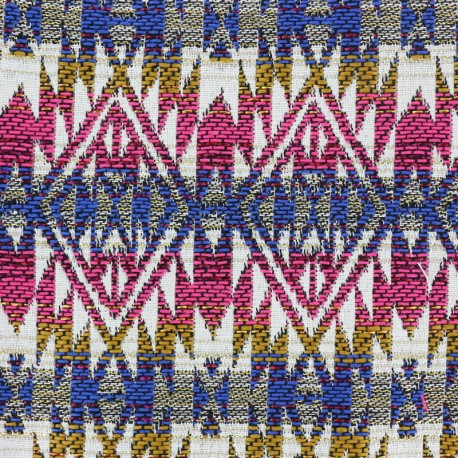 Tissu jacquard tissé teint Aztec - fuchsia x 10cm