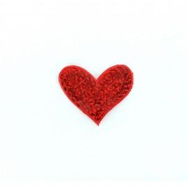 Thermocollant brodé sequins Romantic shine - coeur rouge
