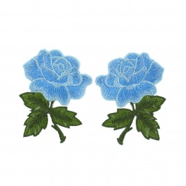 Thermocollant Old School Flower (1paire) - rose bleu