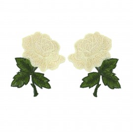 Thermocollant Old School Flower (1paire) - rose blanc