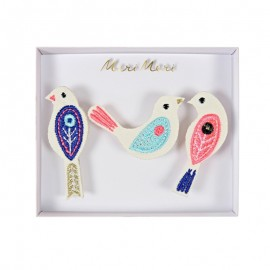Embroidered brooches Meri Meri - Birds