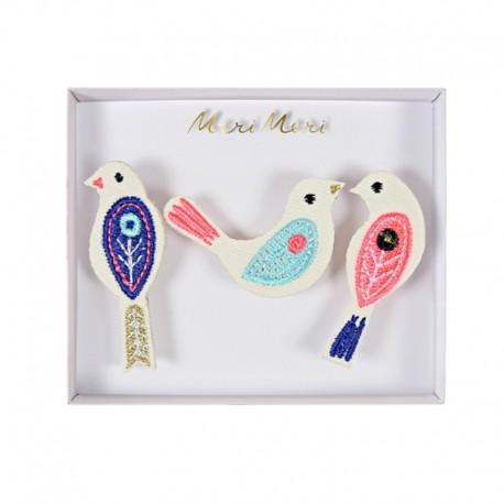 Embroidered brooches Meri Meri - Birds