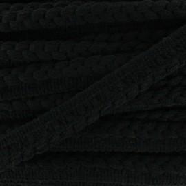 Galon dépassant tressé laine - noir x 1m